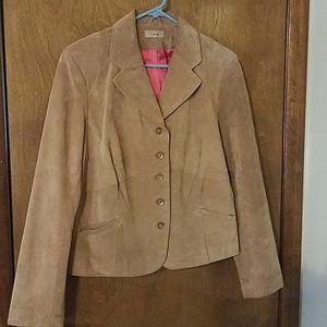 Beige Suede Jacket Blazer Button Up XL